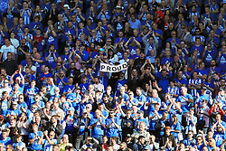 Huddersfield Town fans celebrate in the stands after the Premier League match at the John Smith's Stadium, Huddersfield.