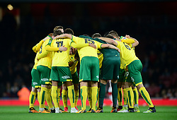 Norwich huddle in prior to kick off. - Mandatory by-line: Alex James/JMP - 24/10/2017 - FOOTBALL - Emirates Stadium - London, England - Arsenal v Norwich City - Carabao Cup