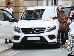 Ander Herrera returns to his car to receieve a £60 parking ticket after attending his Birthday Lunch at Tapeo & Wine Restaurant in Manchester