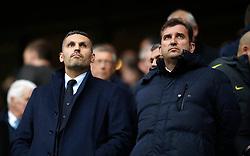 Manchester City chairman Khaldoon Al Mubarak (left) with CEO Ferran Soriano during the Premier League match at the Etihad Stadium, Manchester.