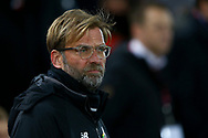 Liverpool Manager Jurgen Klopp looks on . Premier League match, Liverpool v Chelsea at the Anfield stadium in Liverpool, Merseyside on Saturday 25th November 2017.<br /> pic by Chris Stading, Andrew Orchard sports photography.