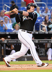 April 18, 2018 - Miami, FL, U.S. - MIAMI, FL - APRIL 13: Miami Marlins first baseman Justin Bour (41) takes a big swing during a  Major League Baseball game between the Miami Marlins and the Pittsburgh Pirates on April 13, 2018  at Marlins Park in Miami, FL  (Photo by Juan Salas/Icon Sportswire) (Credit Image: © Juan Salas/Icon SMI via ZUMA Press)