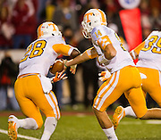 Nov 12, 2011; Fayetteville, AR, USA;  Tennessee Volunteers quarterback Justin Worley (14) hands the ball to tailback Tauren Poole (28) during a game against the Arkansas Razorbacks at Donald W. Reynolds Razorback Stadium. Arkansas defeated Tennessee 49-7. Mandatory Credit: Beth Hall-US PRESSWIRE
