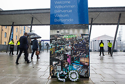 London, UK. 14th September, 2021. White poppy wreaths are pictured outside the entrance to ExCeL London on the first day of the DSEI 2021 arms fair. Stop The Arms Fair activists from a range of different groups have been protesting outside the venue for one of the world's largest arms fairs for over a week.