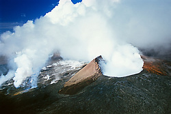 Volcanic gases escaping from vents on the floor and slope of Pu`u `O`o or Puu Oo Crater, Volcanoes National Park, Kilauea, Big Island, Hawaii, USA