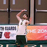 2nd year middle blocker Conal McAinsh (2) of the Regina Cougars in action during the Women's Volleyball Home Game vs U of C Dinos on October21 at the CKHS University of Regina. Credit Arthur Ward/©Arthur Images 2017