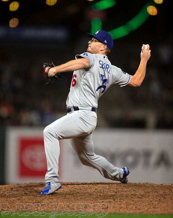 Sep 27, 2019; San Francisco, CA, USA; Los Angeles Dodgers pitcher Josh Sborz (76) delivers against the San Francisco Giants during the ninth inning of a baseball game at Oracle Park. Mandatory Credit: D. Ross Cameron-USA TODAY Sports