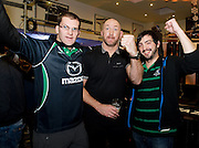 Shane Tighe from Tuam  and Denis Lymer Galway City centre with Rugby legend Trevor Brennan  at the Guinness Area22 event in the Carlton Hotel Galway