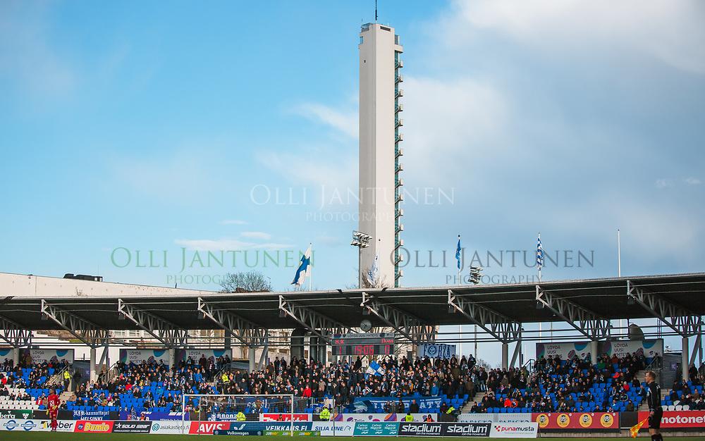 HJK:n kannattajakatsomo Klubipääty Veikkausliigan ottelussa HJK-Ilves. Töölön jalkapallostadion, Helsinki, Suomi. 11.5.2017.