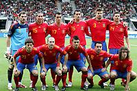 Fotball<br /> Spania v Saudi Arabia<br /> Innsbruck Østerrike<br /> 29.05.2010<br /> Foto: Gepa/Digitalsport<br /> NORWAY ONLY<br /> <br /> FIFA Weltmeisterschaft 2010 in Suedafrika, Vorberichte, Vorbereitung, Vorbereitungsspiel, Freundschaftsspiel, Laenderspiel, Spanien vs Saudi Arabien.<br /> <br /> Bild zeigt die Mannschaft von ESP mit Iker Casillas, Sergio Ramos, Alvaro Arbeloa, Sergio Busquets, Gerard Pique, Xabi Alonso (hinten); David Silva, Andres Iniesta, David Villa, Xavi und Carles Puyol (ESP)<br /> Lagbilde Spania