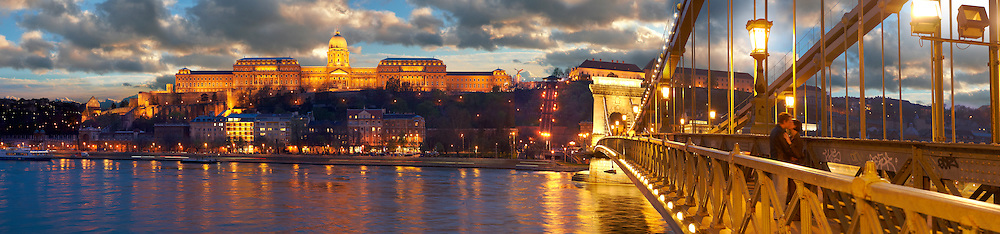 Szechenyi Lanchid Castle district at night. Budapest Hungary. .<br /> <br /> Visit our HUNGARY HISTORIC PLACES PHOTO COLLECTIONS for more photos to download or buy as wall art prints https://funkystock.photoshelter.com/gallery-collection/Pictures-Images-of-Hungary-Photos-of-Hungarian-Historic-Landmark-Sites/C0000Te8AnPgxjRg