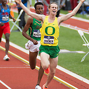 June 11, 2021 Eugene, OR  U.S.A. Oregon Cole Hocker wins the 1500m, Notre Dame Yared Nuguse takes second during the NCAA division 1 mens and womens track and field outdoor championship at Hayward Field Eugene, OR. Thurman James / CSM