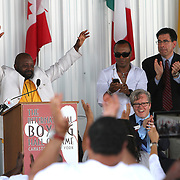 """Inductee and boxer Mark """"Too Sharp"""" Johnson gives his induction speech during the 23rd Annual International Boxing Hall of Fame Induction ceremony at the International Boxing Hall of Fame on Sunday, June 10, 2012 in Canastota, NY. (AP Photo/Alex Menendez)"""