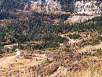 Colorado state route 139 climbs switchbacks to Douglas Pass in Garfield County, Colorado, USA