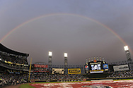 CHICAGO - AUGUST 17:  A rainbow appears over U.S. Cellular Field during a rain delay prior to the Chicago White Sox game against the Kansas City Royals on August 17, 2009 at U.S. Cellular Field in Chicago, Illinois.  (Photo by Ron Vesely)