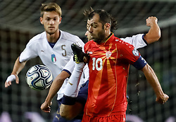 October 6, 2017 - Turin, Italy - Daniele Rugani (L) of Italy national team, Marco Parolo (C) of Italy national team and Goran Pandev of FYR Macedonia national team vie for the ball during the 2018 FIFA World Cup Russia qualifier Group G football match between Italy and FYR Macedonia at Stadio Olimpico on October 6, 2017 in Turin, Italy. (Credit Image: © Mike Kireev/NurPhoto via ZUMA Press)