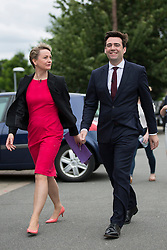 © Licensed to London News Pictures. 11/07/2015. Leeds, UK.  Picture shows Andy Burnham & Yvette Cooper. The four Labour party leadership candidates Andy Burnham, Yvette Cooper, Jeremy Corbyn & Liz Kendall have been at Eland Road in Leeds for local Hustings as part of the election campaign. Photo credit : Andrew McCaren/LNP