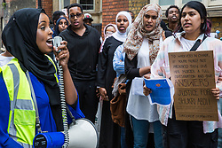 London, UK. 17 July, 2019. Members of the Somali community, NUS Black Students and supporters prepare to march from the Department for Education to Parliament Square to call for a full investigation into the death of Somali refugee girl Shukri Abdi, aged 12 from Bury, who died in the river Irwell on 27th June.