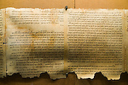 Fragment of the Dead Sea scrolls on display at the Qumran museum (Replica)