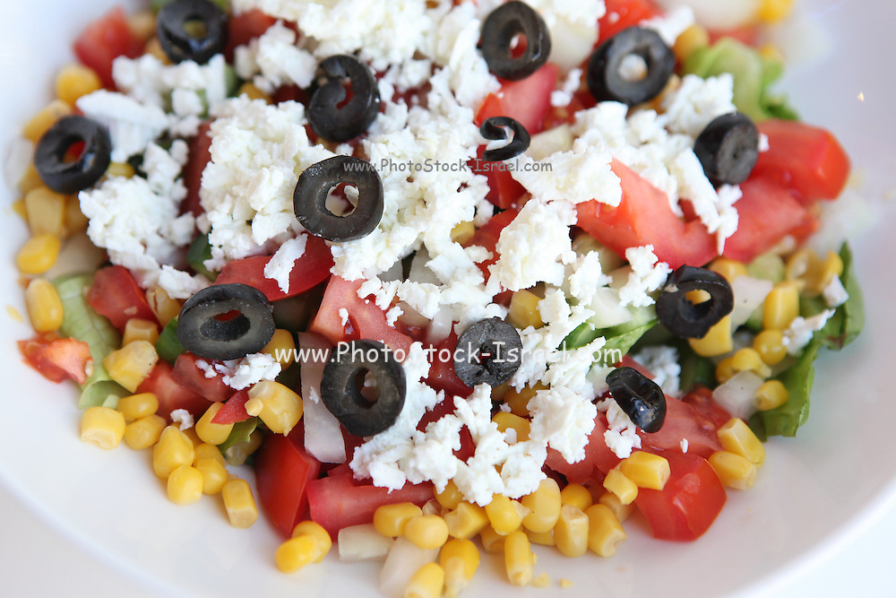 Fresh Greek Salad with  tomato, cucumber, feta cheese and black olives