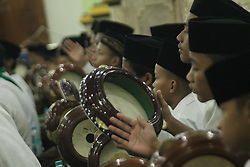 November 17, 2018 - Madiun, East Java, Indonesia - Muslims worship while beating traditional tambourines to welcome the birthday of the Prophet Muhammad SAW 1440 H at the Great Mosque of Baitul Hakim, Madiun City. (Credit Image: © Ajun Ally/Pacific Press via ZUMA Wire)