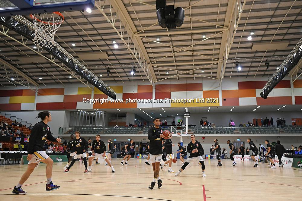 EnviroNZ Bulls players warm up before the Sal's NBL Basketball match, Taylor Hawks v EnviroNZ Bulls, Pettigrew Green Arena, Napier, Saturday, June 26, 2021. Copyright photo: Kerry Marshall / www.photosport.nz