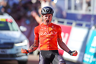 Winner of Stage 2 Robin Carpenter of Team Rally Cycling during the Tour of Britain, second stage between Sherford and Exeter in Devon, Sherford to Exeter, United Kingdom on 6 September 2021.