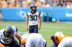 Sep 1, 2018; Charlotte, NC, USA; West Virginia Mountaineers place kicker Evan Staley (30) prepares for a field goal during the first quarter against the Tennessee Volunteers at Bank of America Stadium. Mandatory Credit: Ben Queen-USA TODAY Sports