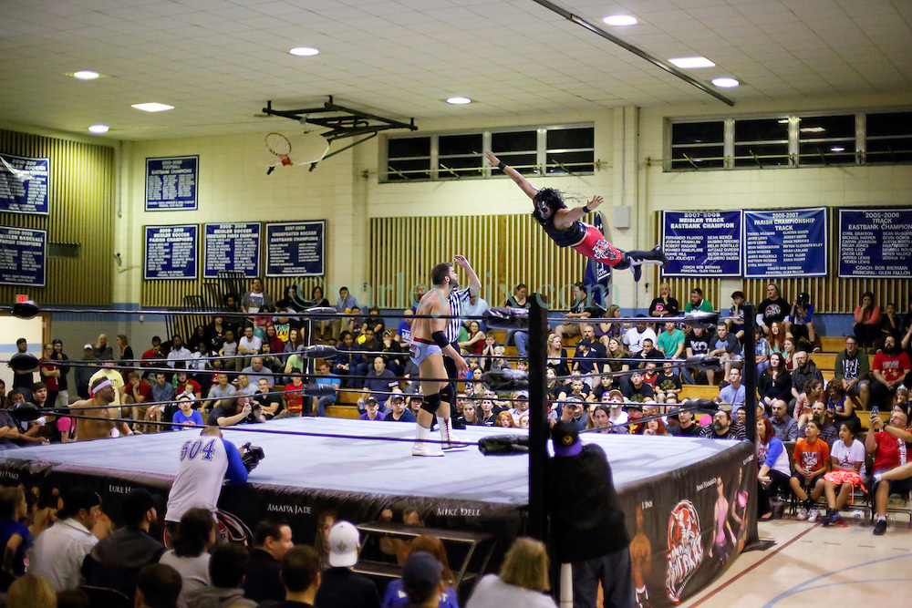 12 March 2016. Metairie, Louisiana.<br /> Wrestling action from Wildkat Sports and Entertainment's 'March into Mayhem' at the Meisler Middle School. Curt Matthews defeats Bestia 666.<br /> Photo©; Charlie Varley/varleypix.com