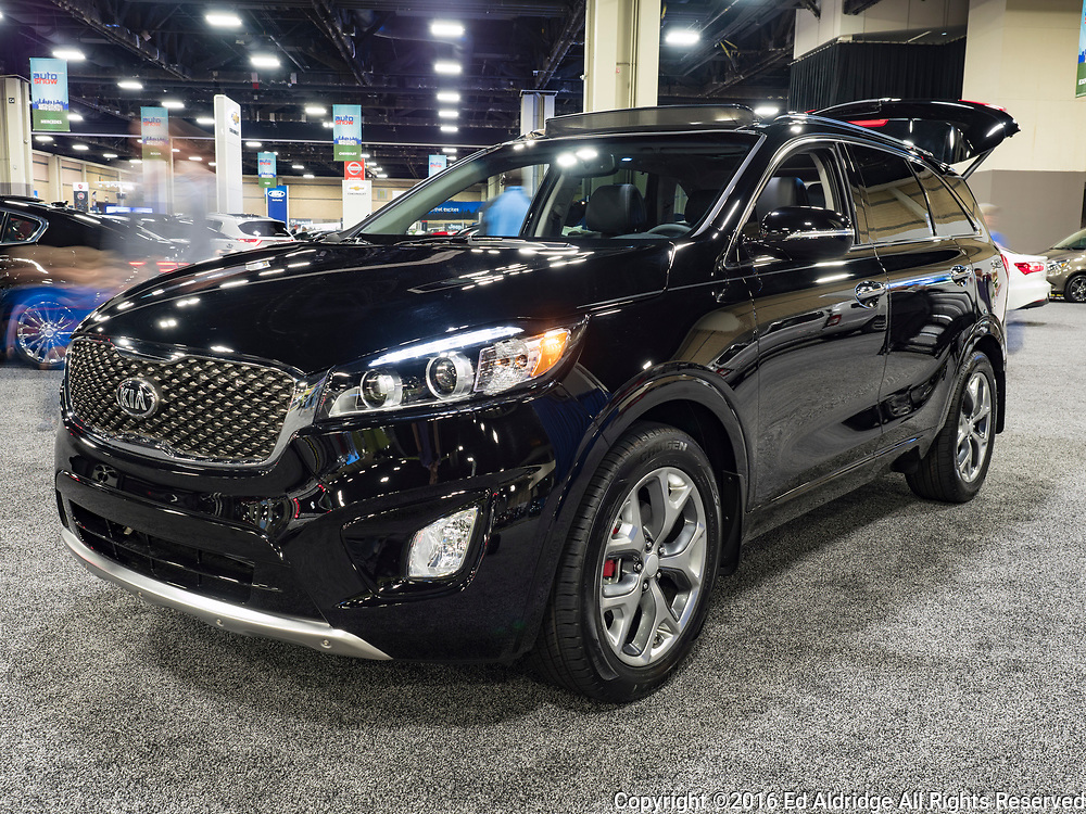 CHARLOTTE, NC, USA - NOVEMBER 17, 2016:  Kia Sorento on display during the 2016 Charlotte International Auto Show at the Charlotte Convention Center in downtown Charlotte.