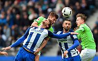 v.l. Sebastian Langkamp (Berlin), Robin Knoche, Vedad Ibisevic, Yannick Gerhardt<br /> Berlin, 22.04.2017, Fussball Bundesliga, Hertha BSC Berlin - VfL Wolfsburg 1:0<br /> <br /> Norway only