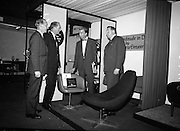 Irish Furniture Fair..1966..27.09.1966..09.27.1966..27th September 1966..Today saw the opening of the Irish Furniture Fair at the Intercontinental Hotel in Dublin. The fair is to promote the quality and value of furniture manufactured within Ireland...The Gaeltarra Eireann display stand is pictured, the display was awarded a merit award for design and quality of its furniture.
