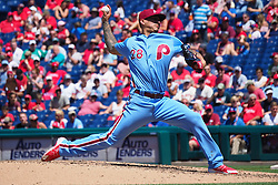 June 14, 2018 - Philadelphia, PA, U.S. - PHILADELPHIA, PA - JUNE 14: Philadelphia Phillies Starting pitcher Vince Velasquez (28) throws a pitch during the MLB baseball game between the Philadelphia Phillies and the Colorado Rockies on June 14, 2018 at Citizens Bank Park in Philadelphia, PA. The Phillies won 9-3. (Photo by Andy Lewis/Icon Sportswire) (Credit Image: © Andy Lewis/Icon SMI via ZUMA Press)