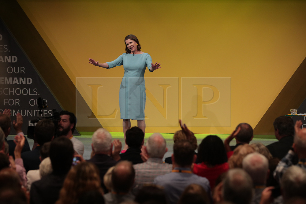 © Licensed to London News Pictures . 17/09/2019. Bournemouth, UK. Lib Dem leader Jo Swinson delivers the Leader's Speech during the final day of the Liberal Democrat Party Conference at the Bournemouth International Centre . Photo credit: Joel Goodman/LNP