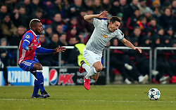 Matteo Darmian of Manchester United is tripped by Geoffroy Serey Die of Basel - Mandatory by-line: Robbie Stephenson/JMP - 22/11/2017 - FOOTBALL - St Jakob-Park - Basel,  - FC Basel v Manchester United - UEFA Champions League Group A