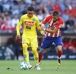 August 1, 2017 - Munich, Germany - Jose Maria Callejon of Napoli and Yannick Ferreira Carrasco of Atletico de Madrid durign the first Audi Cup football match between Atletico Madrid and SSC Napoli in the stadium in Munich, southern Germany, on August 1, 2017. (Credit Image: © Matteo Ciambelli/NurPhoto via ZUMA Press)