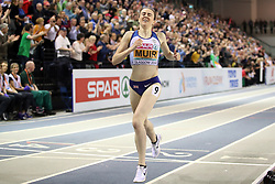 Great Britain's Laura Muir wins the gold medal at the Women's 1500m Final during day three of the European Indoor Athletics Championships at the Emirates Arena, Glasgow.