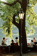 Prague, Czech Republic. Park on the Vltava River riverfront.