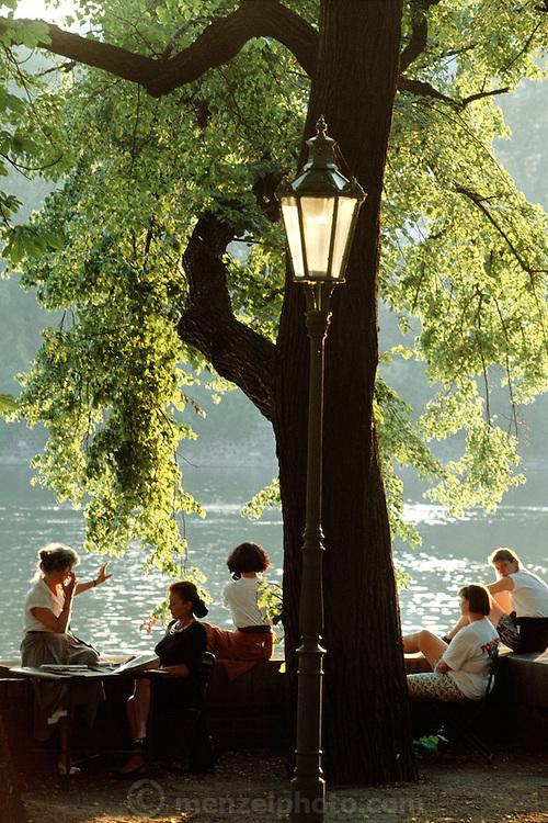 Prague, Czech Republic. Park on the Vltava River riverfront.