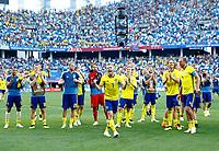 Sweden victory celebration<br /> Nizhny Novgorod 16-06-2018 Football FIFA World Cup Russia  2018 <br /> Sweden - South Korea / Svezia - Corea del Sud <br /> Foto Matteo Ciambelli/Insidefoto