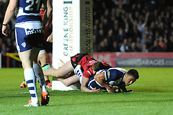 Bristol Rugby's Gavin Henson scores a try - Photo mandatory by-line: Dougie Allward/JMP - Mobile: 07966 386802 - 17/04/2015 - SPORT - Rugby - Bristol - Ashton Gate - Bristol Rugby v Jersey - Greene King IPA Championship