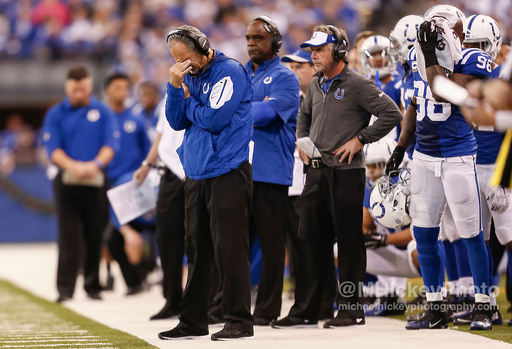 INDIANAPOLIS, IN - DECEMBER 20: Head coach Chuck Pagano and members of the Indianapolis Colts react on the sidelines late in the game against the Houston Texans at Lucas Oil Stadium on December 20, 2015 in Indianapolis, Indiana.  (Photo by Michael Hickey/Getty Images) *** Local Caption *** Chuck Pagano