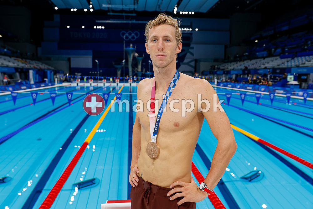 Jeremy Desplanches of Switzerland poses with his Bronze medal after finishing third in the men's 200m Individual Medley (IM) Final during the Swimming competition held at the Aquatics Center during the Tokyo 2020 Olympic Games in Tokyo, Japan, Friday, July 30, 2021. (Photo by Patrick B. Kraemer / MAGICPBK)
