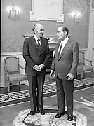 President Mitterand .at Áras an Uachtaráin..1984..21.02.1984..02.21.1984.21st February 1984..On a state visit to Dublin The French President, Mr Francois Mitterand,paid a visit to Áras an Uachtaráin,where he was greeted by The Irish President,Mr Patrick Hillery. ..Image of Presidents Hillery and Mitterand as they take their positions for the formal Photo Shoot.