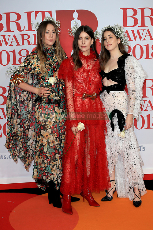 attends the Brit Awards at the O2 Arena in London, UK. 21 Feb 2018 Pictured: HAIM. Photo credit: MEGA TheMegaAgency.com +1 888 505 6342