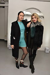 Left to right, Antonia Marsh and Sydney Lima at the Charlotte Simone LFW Autumn Winter 2017 showcase, The Vinyl Factory, 51 Poland Street, London England. 17 February 2017.