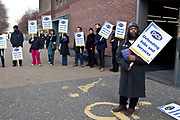 Members of the Public and Commercial Services Union striking outside of the west entrance to the Tate Modern gallery in London, United Kingdom. On March 8, 2010, 270,000 civil servants began a national 48 hour strike, over government changes to redundancy payments