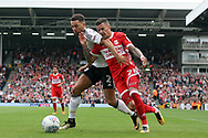 Ryan Fredericks of Fulham battles with Marvin Johnson of Middlesbrough (R). EFL Skybet championship match, Fulham v Middlesbrough at Craven Cottage in London on Saturday 23rd September 2017<br /> pic by Steffan Bowen, Andrew Orchard sports photography.