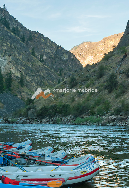 Sunrise at Otter Bar in the Impassible Canyon on the Middle Fork of the Salmon River during a six day rafting vacation, Idaho.