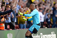 Goalkeeper Heurelho Gomes of Watford celebrates with the Watford fans after Odion Ighalo of Watford scores his sides first goal to make it 1-0. Barclays Premier League, Watford v Swansea city at Vicarage Road in London on Saturday 12th September 2015.<br /> pic by John Patrick Fletcher, Andrew Orchard sports photography.